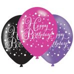 "Black & Pink Birthday Latex Balloons 11""/27.5cm - PKG/6"