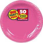 Bright Pink Plastic Plates 18cm - 6 PKG/50