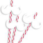 Christmas Moustache Reusable Straws - 12 PKG/12