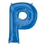 """Letter P Blue SuperShape Foil Balloons 34""""/""""86cm P50 - 5 PC"""