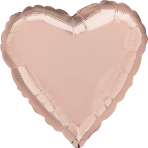 Rose Gold Solid Colour Heart Standard Foil Balloons S15 - 10 PC