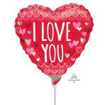 I Love You Sketchy Scallops Mini Foil Balloons A15 - 5 PC