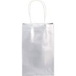 Metallic Silver Paper Loot Bags - 6 PKG/8