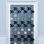 30th Birthday Black & Silver Door Curtains 2m - 6 PKG