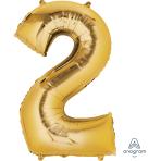 """Number 2 Gold SuperShape Foil Balloons 21""""/53cm w x 35""""/88cm h P50 - 5 PC"""