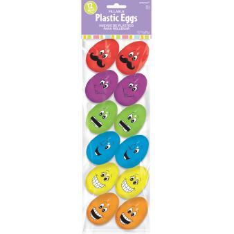 Small Funny Face Plastic Eggs - 4.5cm x 5.5cm - 24 PKG/12