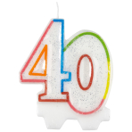 Milestone Birthday Candles 40th - 7.5cm - 6 PKG