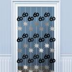 60th Birthday Black & Silver Door Curtains 2m - 6 PKG