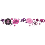 Pink Sparkling Celebration 40th 3 Pack Value Confetti 34g - 12 PC