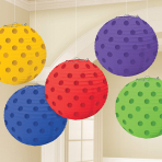 Rainbow Hot Stamped Paper Lanterns 12cm - 6 PKG/5