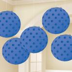 Bright Royal Blue Hot Stamped Paper Lanterns 12cm - 6 PKG/5