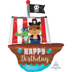 "Pirate Ship Happy Birthday SuperShape Foil Balloons 27""/68cm w x 34""/86cm h P35 - 5 PC"