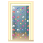 The Party Continues 21st Birthday Door Curtains 2m - 6 PKG