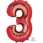 """Number 3 Red SuperShape Foil Balloons 22""""/55cm w x 34""""/86cm h P50 - 5 PC"""