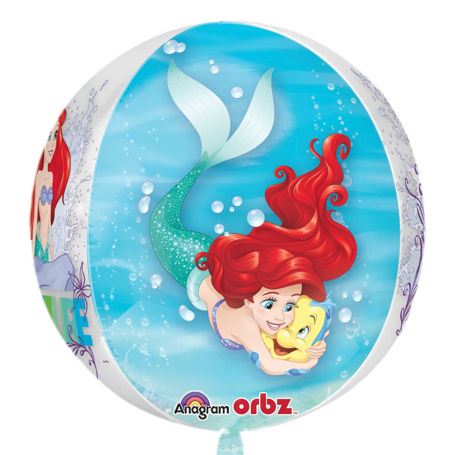 "Ariel Dream Big Clear Orbz Foil Balloons 15""/38cm W X 16"