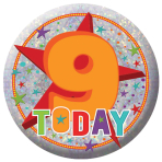 Happy 9th Birthday Holographic Badges 5.5cm - 12 PKG