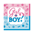 Girl or Boy Beverage Napkins 18cm - 12 PKG/16