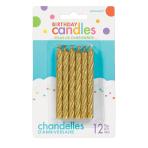 Gold Glitter Spiral Candles 8.2cm - 12 PKG/12