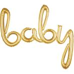 """Baby"" Script Phrase Gold Foil Balloons 39""/99cm x 33""/83cm G40- 5 PC"