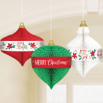 Traditional Christmas Honeycomb Hanging Decorations - 6 PKG/3