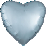 Pastel Blue Heart Satin Luxe Standard HX Packaged Foil Balloons S15 - 5 PC