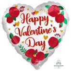 "Happy Valentine's Day Roses Jumbo Satin Luxe HX Foil Balloons 28""/71cm w x 28""/71cm h P32 - 5 PC"