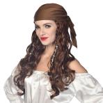 Pirate Long Wigs with Brown Bandana - 6 PC