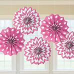 Bright Pink Dots & Chevron Paper Fans 20cm - 12 PKG/5