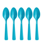 Caribbean Blue Heavy Weight Plastic Spoons - 12 PKG/48