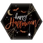 Happy Halloween Hexagon Paper Plates 23cm - 9 PKG/8