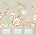 Boho Birthday Girl Swirl Decorations - 12 PKG/12