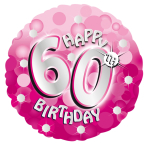 Pink Sparkle Party Happy Birthday 60th Standard Foil Balloons S40 - 5 PC