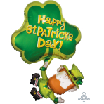 St. Patrick's Day Leprechaun & Shamrock SuperShape Foil Balloon - P30 5 PC