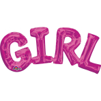 """Girl"" Phrase Pink SuperShape Foil Balloons 22""/55cm x 10""/25cm S55 - 5 PC"