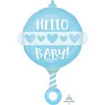 """Baby Boy Rattle Standard Shape Foil Balloons 17""""/43cm w x 24""""/60cm h S50 - 5 PC"""