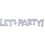 """Let's Party"" Silver Holographic Block Phrase Foil Balloons G40 - 5 PC"