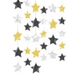 Gold / Black / Silver Star String Decorations - 2m 12 PKG/6