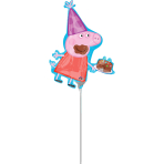 "Peppa Pig Mini Shape Foil Balloons 10""/25cm w x 13""/33cm h A30 - 5 PC"