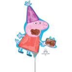 "Peppa Pig Mini Shape Foil Balloons 10""/25cm w x 13""/33cm h A30 - 5 PC"