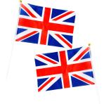 Red White & Blue GB Wavy Flags 15cm h x 22cm w - 6 PKG/6