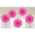 Bright Pink Mini Paper Fans 15cm - 6 PKG/5