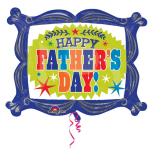 """Happy Father's Day Frame SuperShape Foil Balloons 30""""/76cm x 23""""/58cm P35 - 5 PC"""