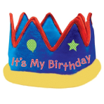 it's My Birthday Fabric Crowns - 6 PC