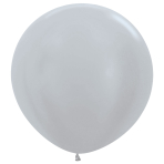 "Satin Solid Silver 481 Latex Balloons 36""/91.5cm - 2 PC"