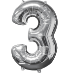 "Number 3 Silver SuperShape Mid-Size Foil Balloons 17""/43cm w x 26""/66cm h P31 - 5 PC"