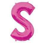 """Letter S Pink SuperShape Foil Balloons 34""""/""""86cm P50 - 5 PC"""