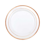 Rose Gold Trim Premium 19cm Plastic Plates - 6 PKG/20