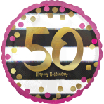 Pink & Gold 50th Birthday Holographic Standard Foil Balloons S40 - 5 PC
