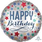 Happy Birthday Satin Stars Standard XL Foil Balloons S40 - 5 PC