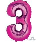 "Number 3 Pink SuperShape Foil Balloons 22""/55cm w x 34""/86cm h P50 - 5 PC"